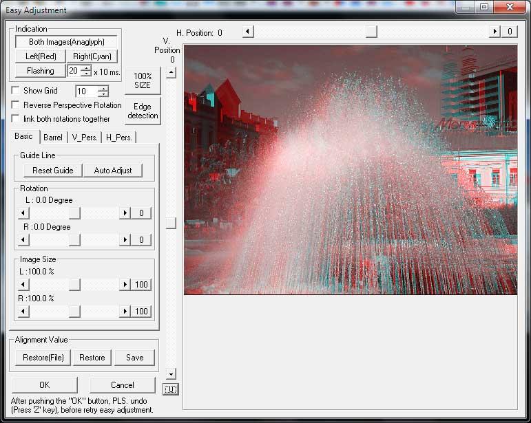 StereoPhoto Maker - Диалог Easy Adjustment